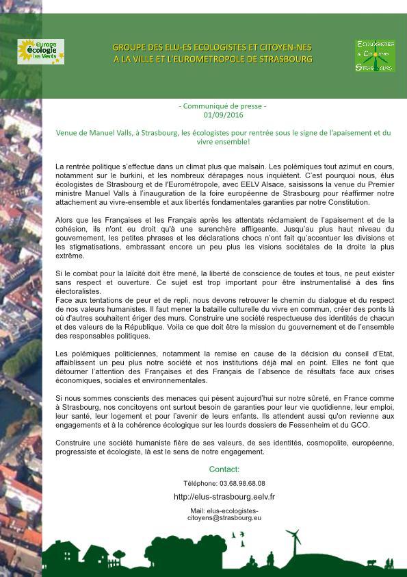 Communiqué de Presse - Venue de Manuel Valls, à Strasbourg : les écologistes pour une rentrée sous le signe de l'apaisement et du vivre ensemble !